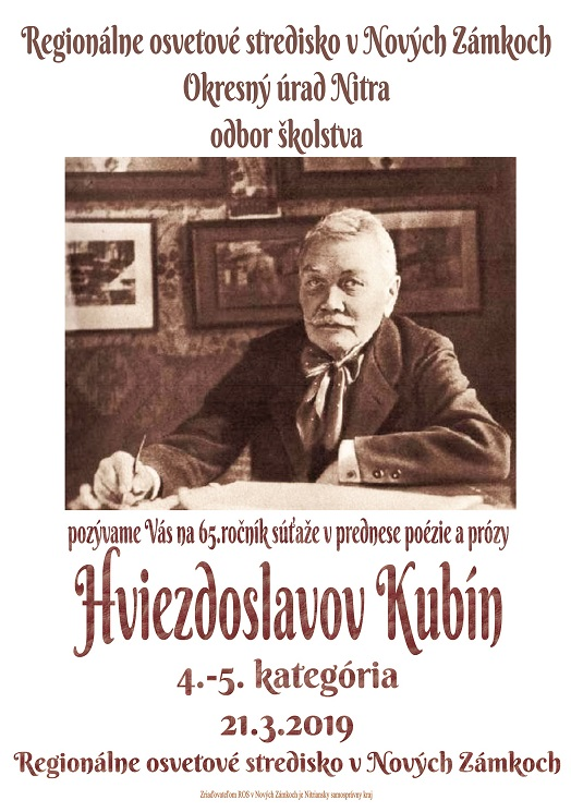 59f41f167 Hviezdoslavov Kubín 21.3.2019 | Regionálne osvetové stredisko Nové Zámky